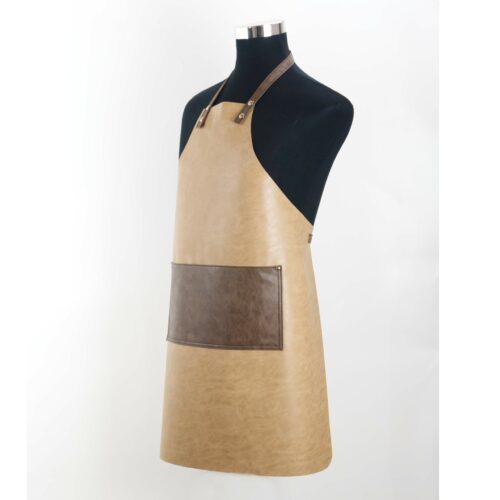 Grembiule Clip&Cook in pelle wosde colore Sabbia